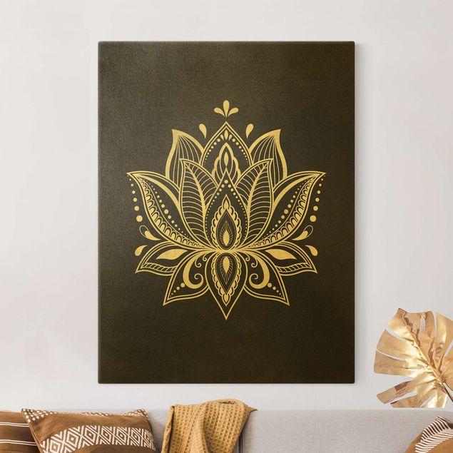Leinwandbild Gold - Lotus Illustration weiß schwarz - Hochformat 3:4