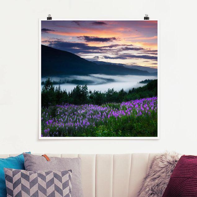 Poster - Paradiesisches Tal in Norwegen - Quadrat 1:1