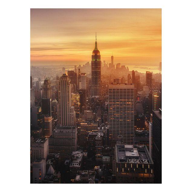 Forex Fine Art Print - Manhattan Skyline Abendstimmung - Hochformat 4:3