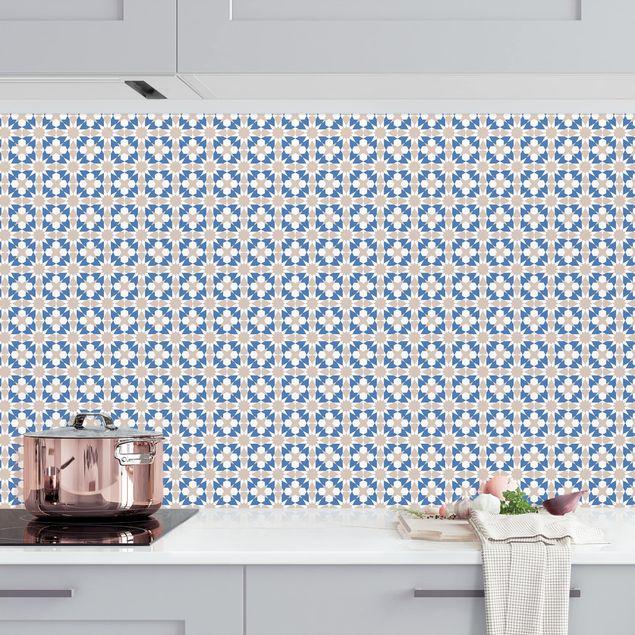 Küchenrückwand - Orientalisches Muster mit blauen Sternen