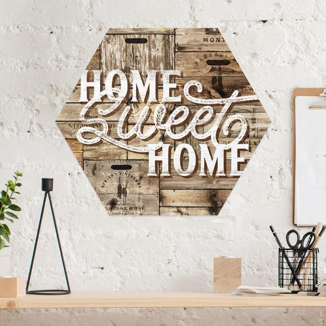 Hexagon Bild Alu-Dibond - Home sweet Home Holzwand