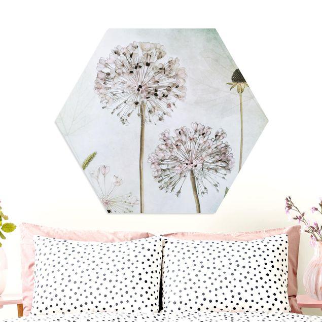 Hexagon Bild Forex - Lauchblüten in Pastell