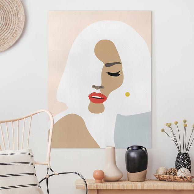 Leinwandbild - Line Art Portrait Frau Pastell Beige - Hochformat 4:3