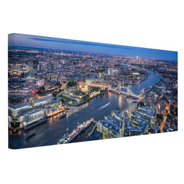 Leinwandbild - Nachts in London - Querformat 2:1