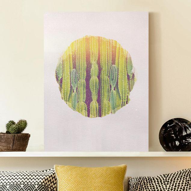 Leinwandbild - Wasserfarben - Kaktus Wand - Hochformat 4:3