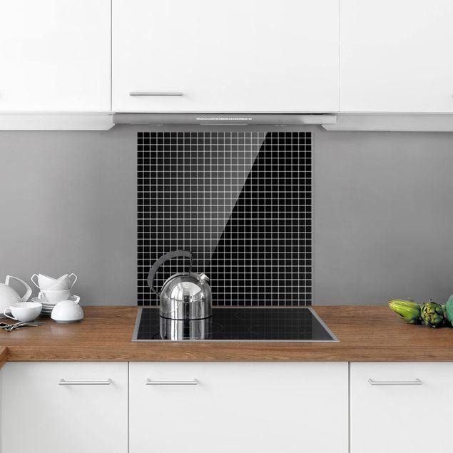 Glas Spritzschutz - Mosaikfliesen Schwarz Matt - Quadrat - 1:1