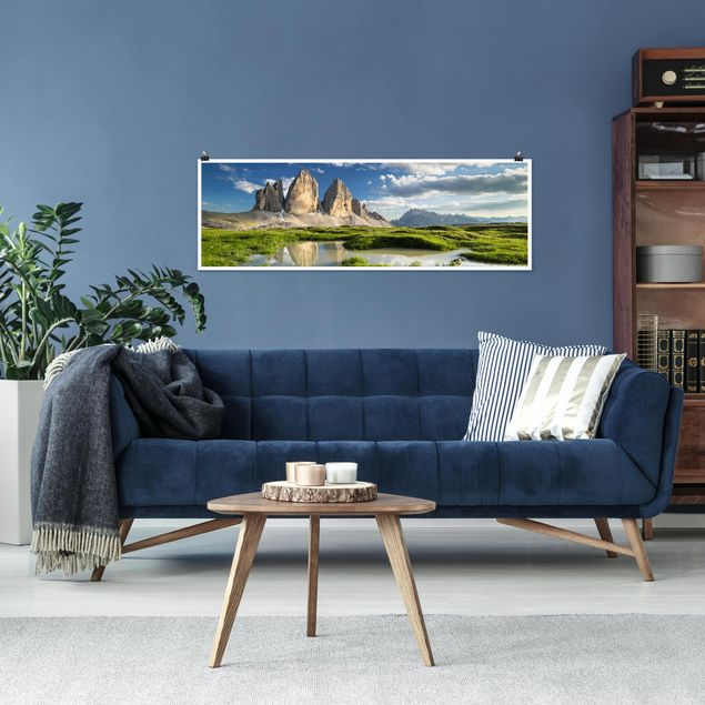 Poster - Südtiroler Zinnen und Wasserspiegelung - Panorama Querformat