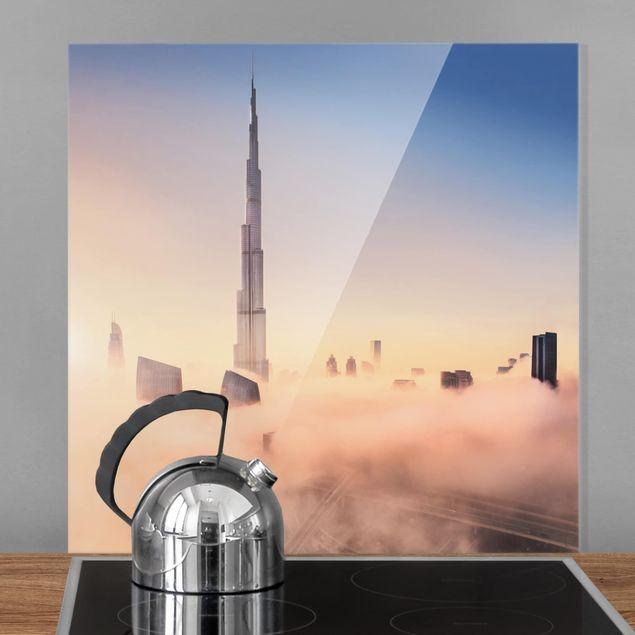 Glas Spritzschutz - Himmlische Skyline von Dubai - Quadrat - 1:1