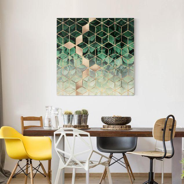 Leinwandbild - Grüne Blätter goldene Geometrie - Quadrat 1:1