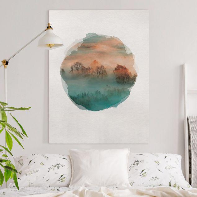 Leinwandbild - Wasserfarben - Nebel bei Sonnenaufgang - Hochformat 4:3