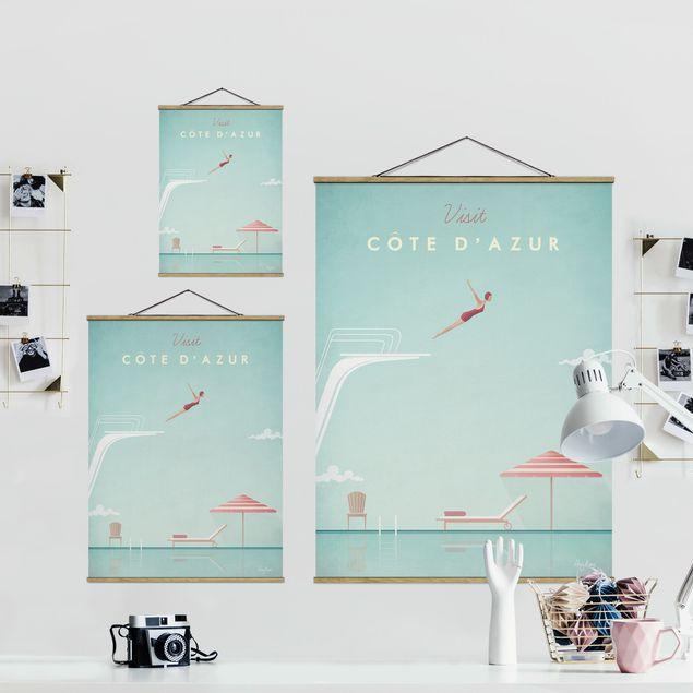 Stoffbild mit Posterleisten - Reiseposter - Côte d´Azur - Hochformat 3:4