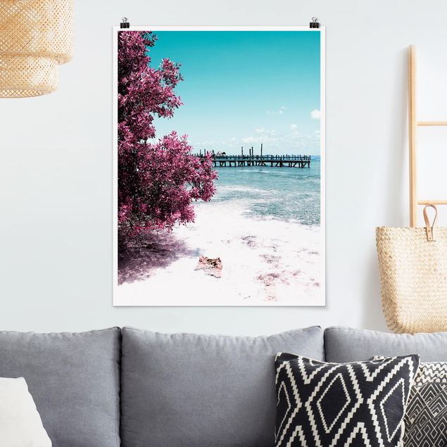 Poster - Paradies Strand Isla Mujeres - Hochformat 3:4