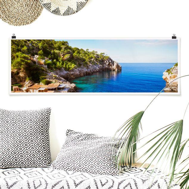 Poster - Cala de Deia in Mallorca - Panorama Querformat
