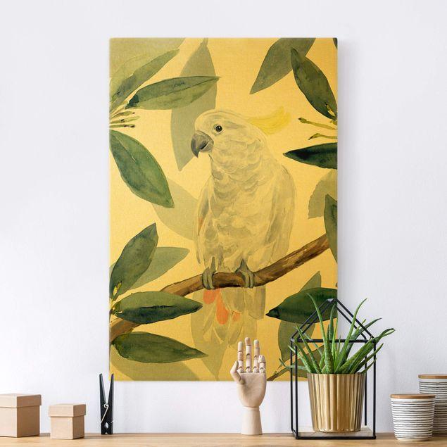 Leinwandbild Gold - Tropischer Kakadu I - Hochformat 2:3