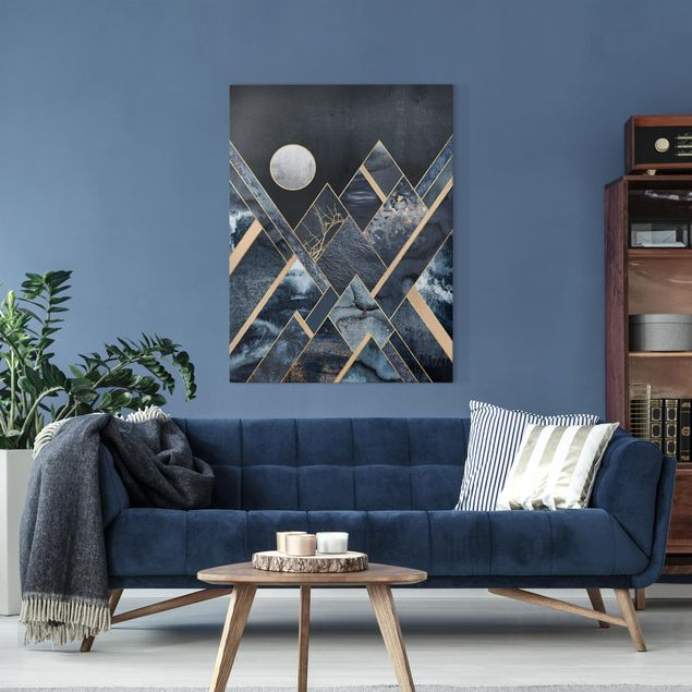 Leinwandbild - Goldener Mond abstrakte schwarze Berge - Hochformat 4:3
