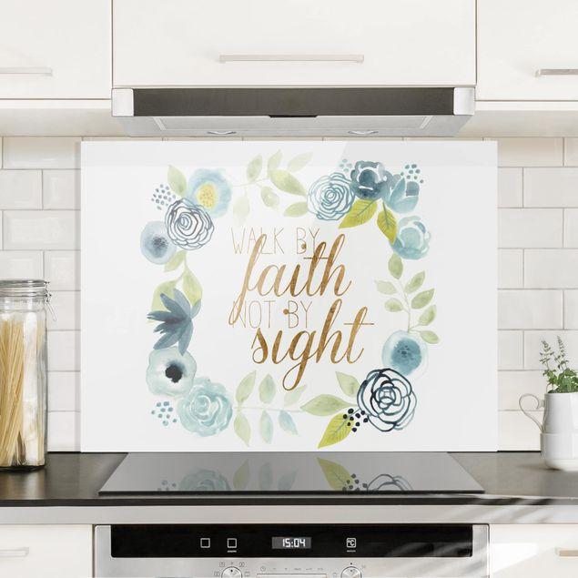 Glas Spritzschutz - Blumenkranz mit Spruch - Faith - Querformat - 4:3