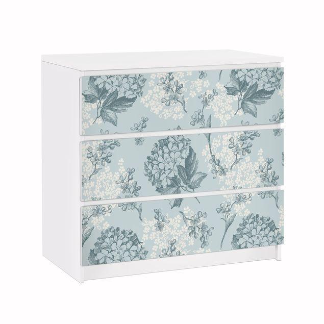 Möbelfolie für IKEA Malm Kommode - Klebefolie Hortensia pattern in blue