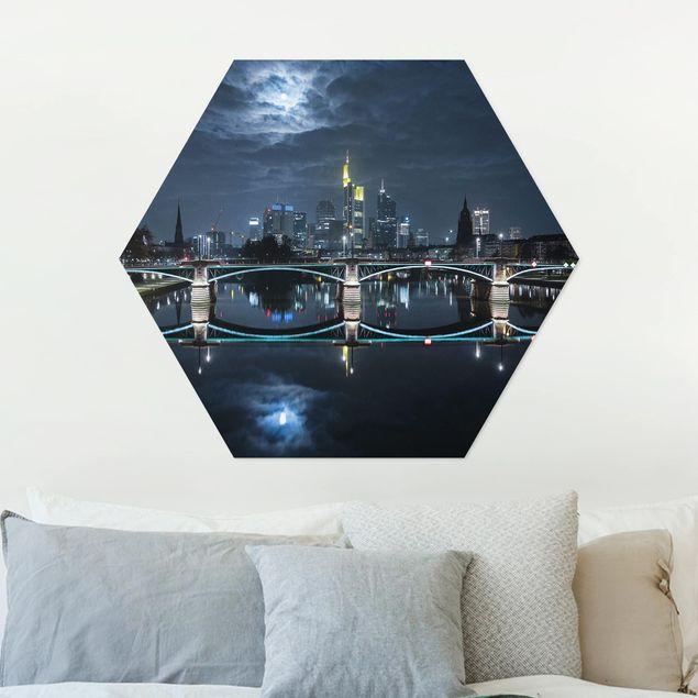 Hexagon Bild Alu-Dibond - Frankfurt bei Vollmond