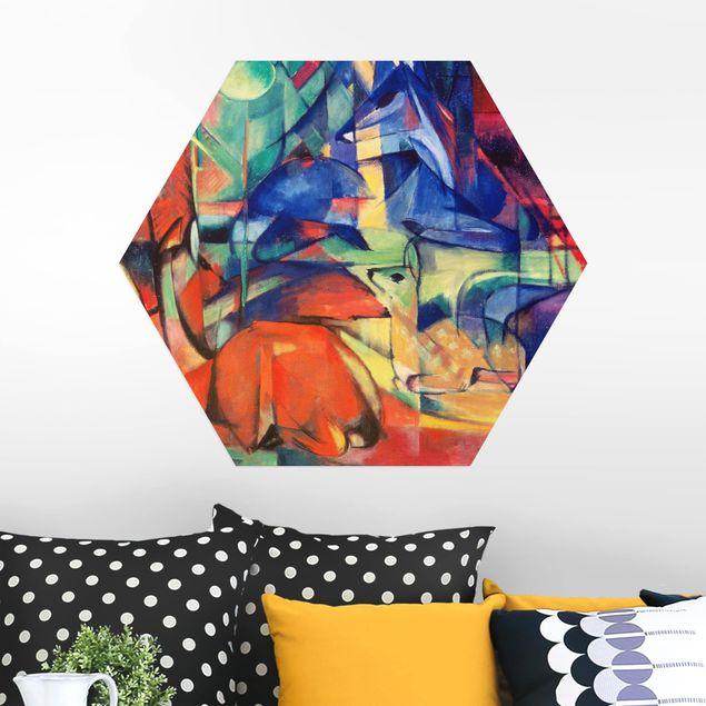 Hexagon Bild Alu-Dibond - Franz Marc - Rehe im Walde
