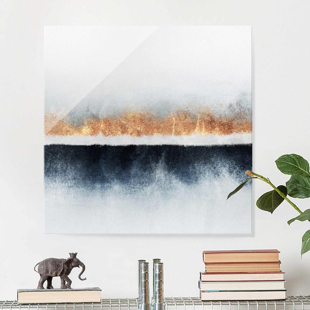 Glasbild - Goldener Horizont Aquarell - Quadrat 1:1