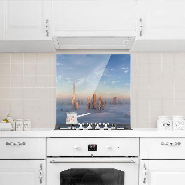 Glas Spritzschutz - Dubai über den Wolken - Quadrat - 1:1