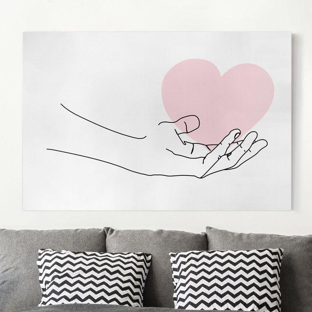 Leinwandbild - Hand mit Herz Line Art - Querformat 2:3