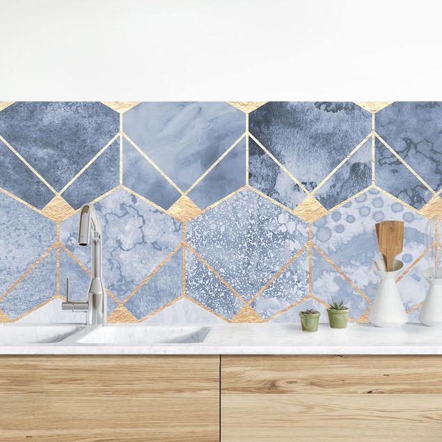 Küchenrückwand - Blaue Geometrie goldenes Art Deco