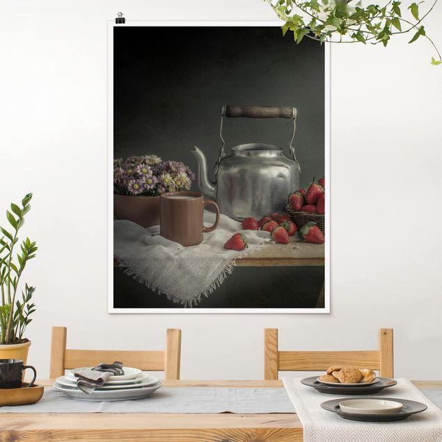 Poster - Stillleben mit Erdbeeren - Hochformat 3:4