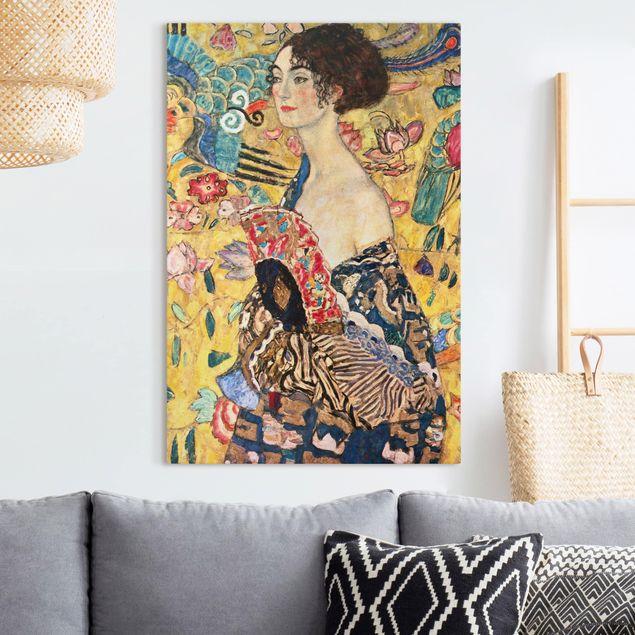 Leinwandbild - Gustav Klimt - Dame mit Fächer - Hochformat 3:2