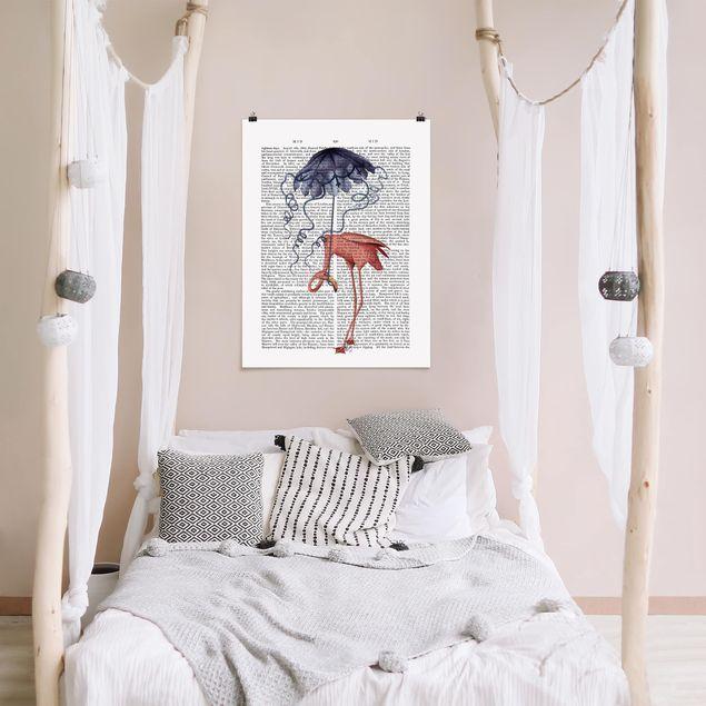 Poster - Tierlektüre - Flamingo mit Regenschirm - Hochformat 3:4