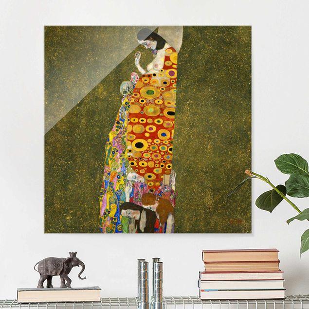 Glasbild - Gustav Klimt - Die Hoffnung II - Quadrat 1:1