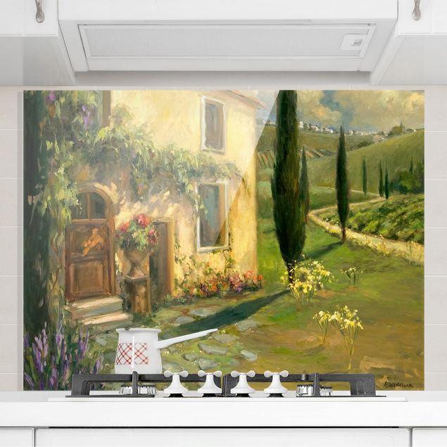Glas Spritzschutz - Italienische Landschaft - Zypresse - Querformat - 4:3