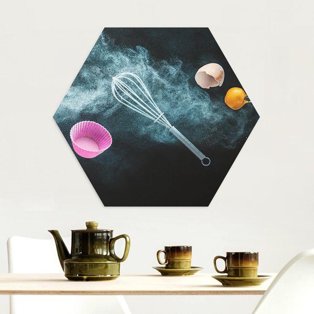 Hexagon Bild Alu-Dibond - Chaos in der Küche