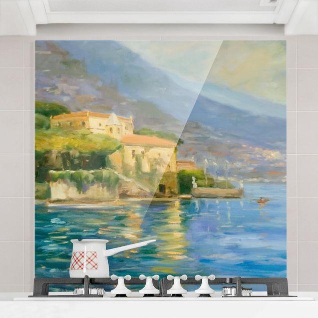 Glas Spritzschutz - Italienische Landschaft - Meer - Quadrat - 1:1