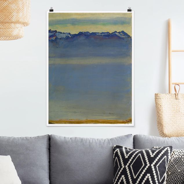 Poster - Ferdinand Hodler - Genfer See mit Alpen - Hochformat 3:4