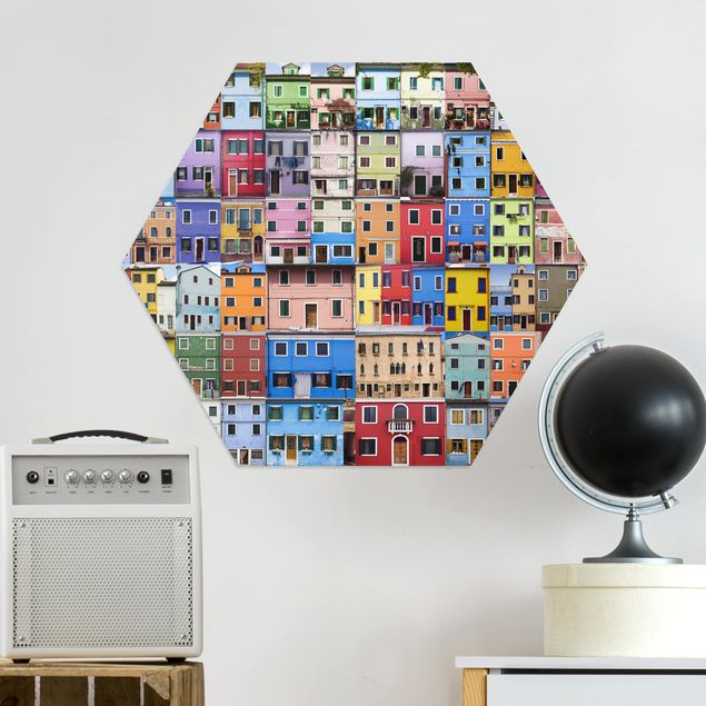 Hexagon Bild Alu-Dibond - Venezianische Häuser
