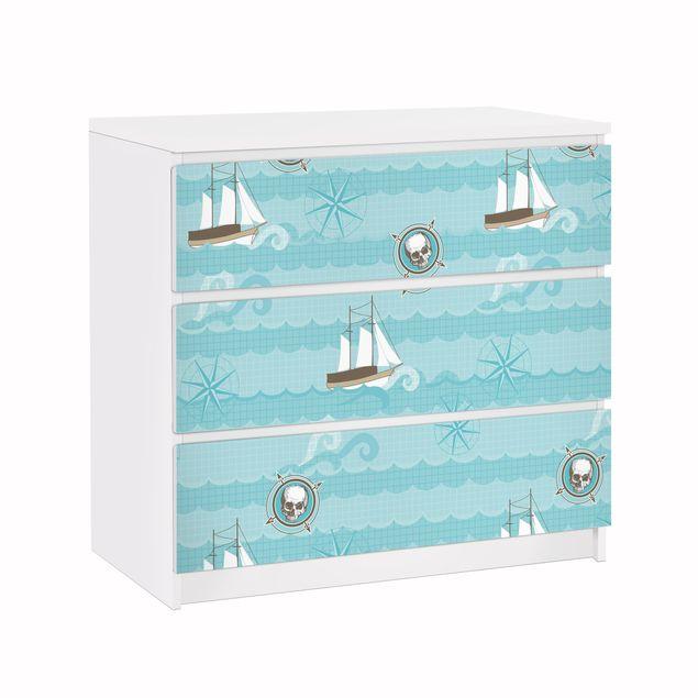 Möbelfolie für IKEA Malm Kommode - Klebefolie Marine Ornament