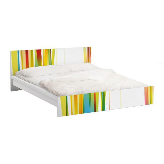 Möbelfolie für IKEA Malm Bett niedrig 180x200cm - Klebefolie Rainbow Stripes