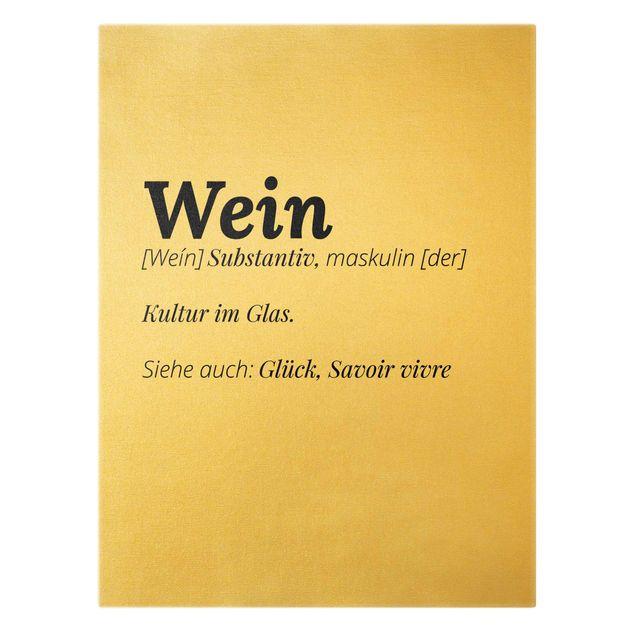 Leinwandbild Gold - Die Definition von Wein - Hochformat 3:4