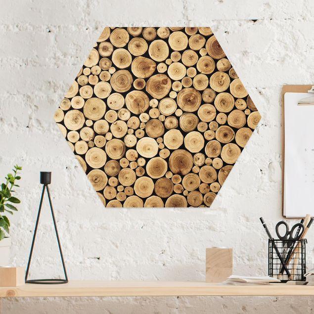 Hexagon Bild Alu-Dibond - Homey Firewood