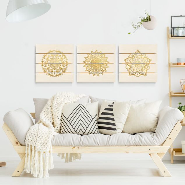 Holzbild 3-teilig - Mandala Blüte Sonne Illustration Set Gold - Quadrate 1:1
