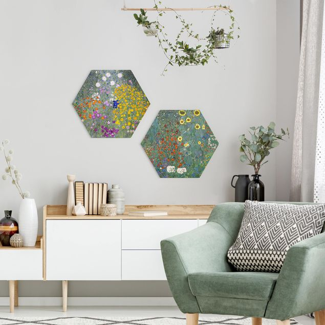 Hexagon Bild Forex 2-teilig - Gustav Klimt - Im grünen Garten