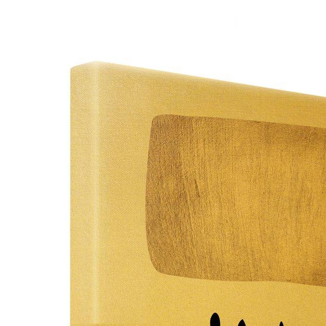 Leinwandbild Gold - Geometrische Punkte I - Hochformat 3:4