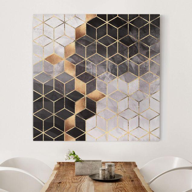 Leinwandbild - Schwarz Weiß goldene Geometrie - Quadrat 1:1