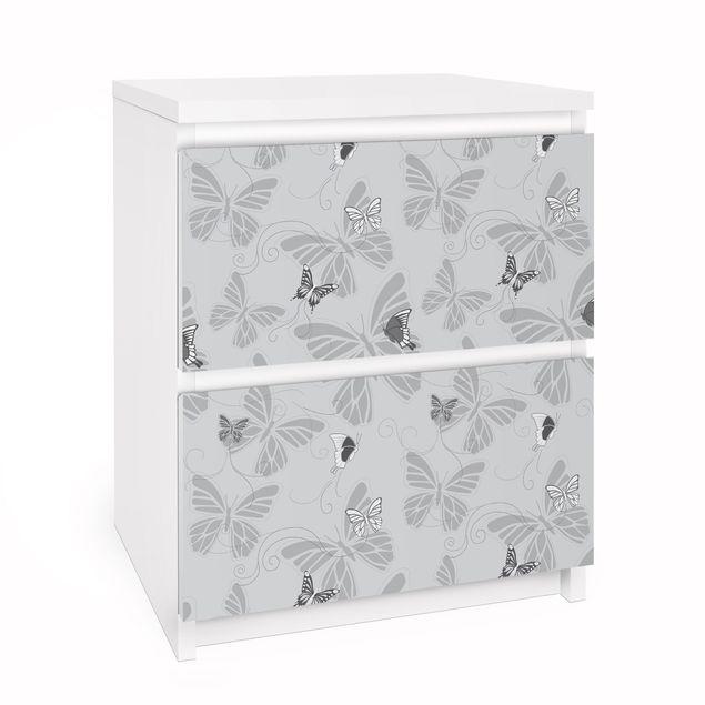 Möbelfolie für IKEA Malm Kommode - Selbstklebefolie Schmetterlinge Monochrom