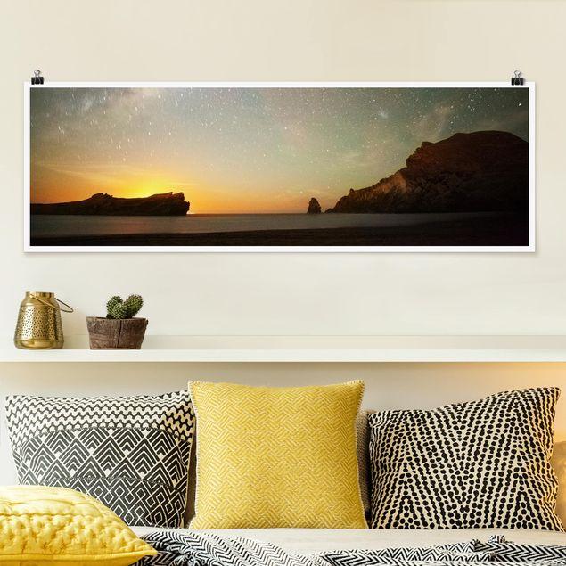 Poster - Sternenhimmel über dem Meer - Panorama Querformat