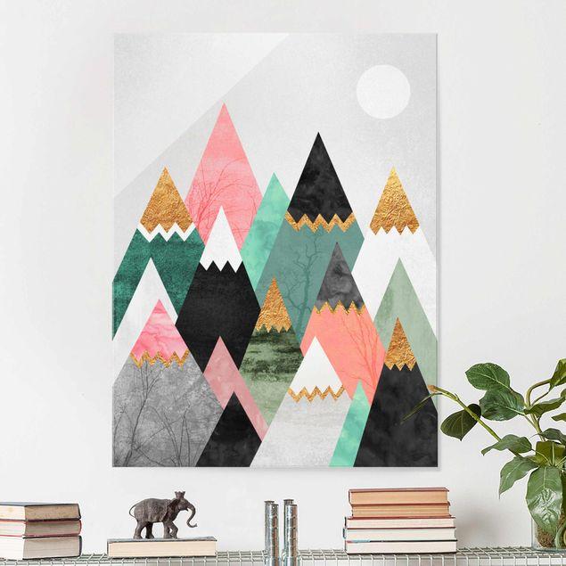 Glasbild - Dreieckige Berge mit Goldspitzen - Hochformat 4:3
