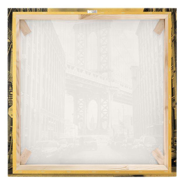 Leinwandbild Gold - Manhattan Bridge in America - Quadrat 1:1