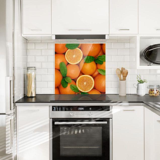 Glas Spritzschutz - Saftige Orangen - Quadrat - 1:1