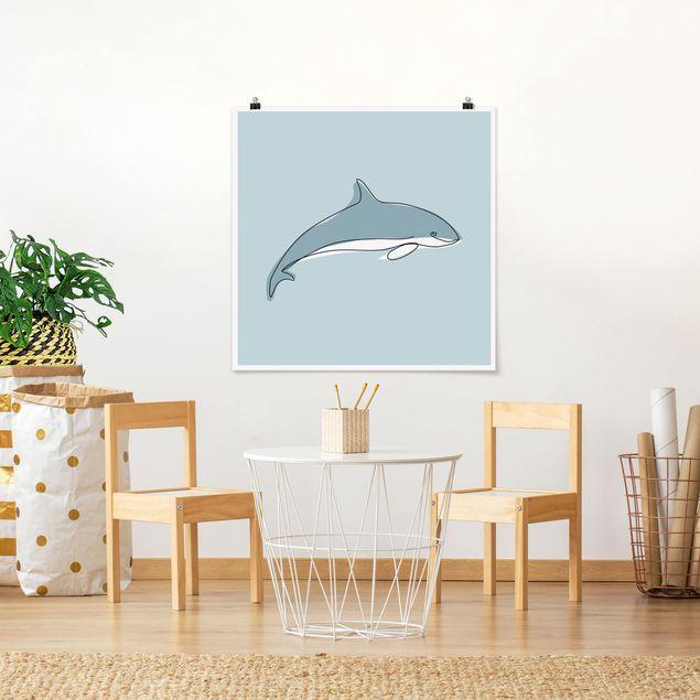 Poster - Delfin Line Art - Quadrat 1:1